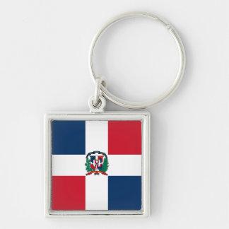 Dominican Republic Flag DO Silver-Colored Square Key Ring