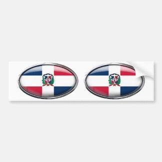 Dominican Republic Flag Glass Oval Bumper Sticker