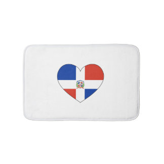 Dominican Republic Flag Heart Bath Mats