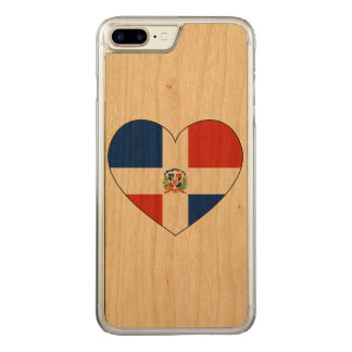 Dominican Republic Flag Heart Carved iPhone 7 Plus Case