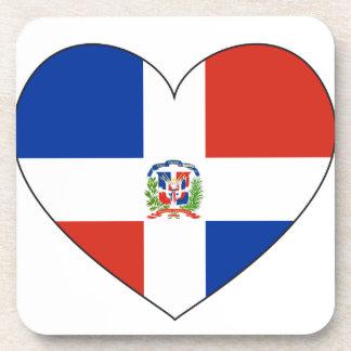 Dominican Republic Flag Heart Coaster