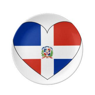 Dominican Republic Flag Heart Plate