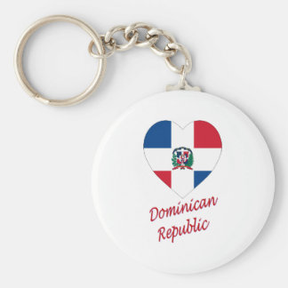 Dominican Republic Flag Heart with Name Basic Round Button Key Ring