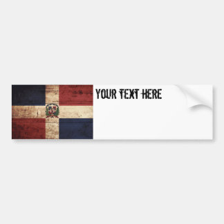 Dominican Republic Flag on Old Wood Grain Bumper Sticker