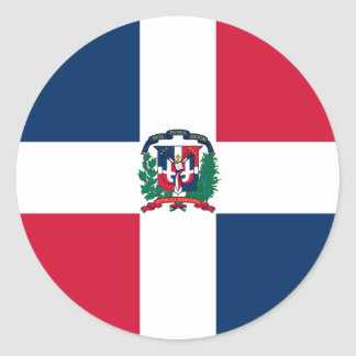 Dominican Republic Flag Round Stickers