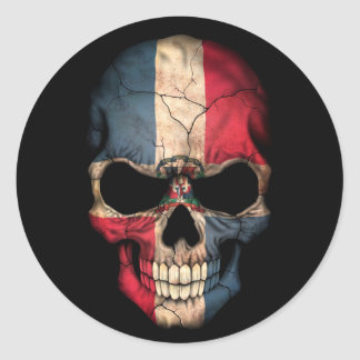 Dominican Republic Flag Skull on Black Classic Round Sticker