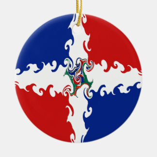 Dominican Republic Gnarly Flag Double-Sided Ceramic Round Christmas Ornament