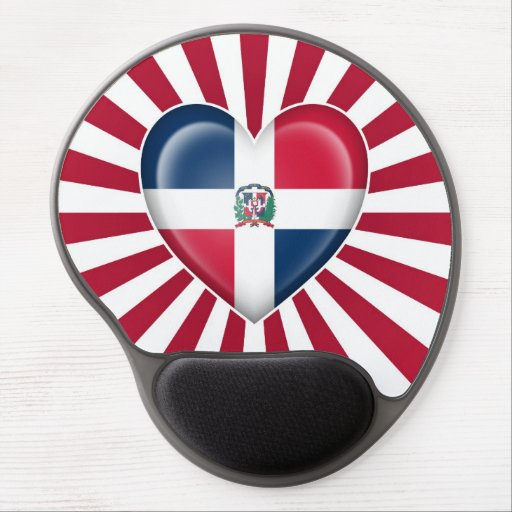 Dominican Republic Heart Flag with Sun Rays Gel Mousepads