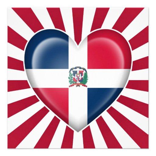 Dominican Republic Heart Flag with Sun Rays Personalized Invite