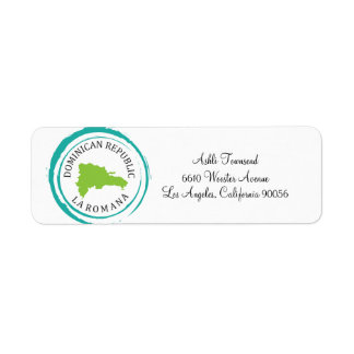 Dominican Republic Map & Customize Your Text Return Address Label