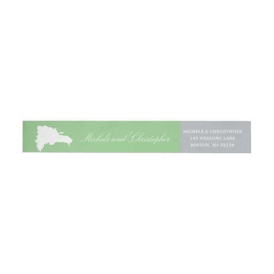 Dominican Republic Map  | Green and Grey Wedding Wrap Around Label