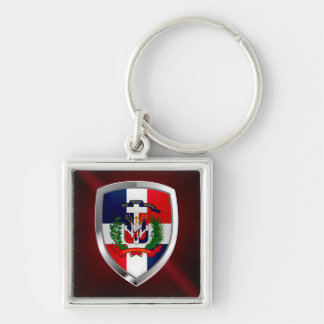 Dominican Republic Mettalic Emblem Silver-Colored Square Key Ring