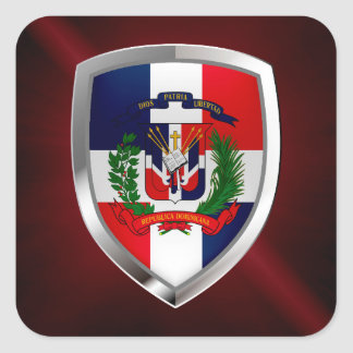 Dominican Republic Mettalic Emblem Square Sticker