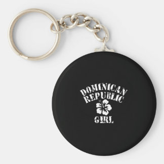 Dominican Republic Tattoo Style Basic Round Button Key Ring