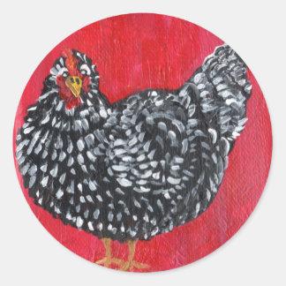 Dominique Chicken Classic Round Sticker