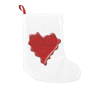 Dominique. Red heart wax seal with name Dominique. Small Christmas Stocking