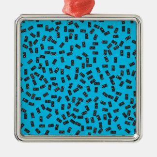 Dominoes on Blue Metal Ornament
