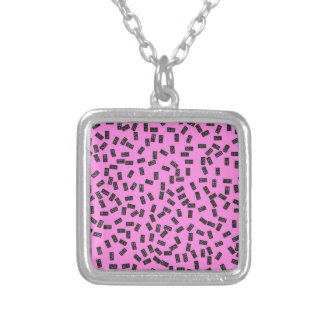 Dominoes on Pink Silver Plated Necklace