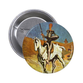Don Quixote And Sancho Panza By Daumier Honoré (Be 6 Cm Round Badge