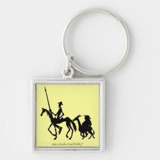 Don Quixote and Sancho Panza graphic art keychain