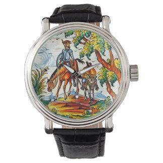 Don Quixote Cervantes Antique Vintage Majolica Art Watch