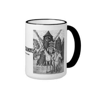 Don Quixote ink pen drawing art mug design