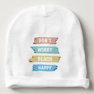 Don't Worry BEACH Happy - Fun Beach Print Baby Beanie
