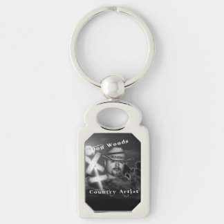 Don Woods Silver-Colored Rectangle Key Ring