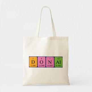 Donal periodic table name tote bag