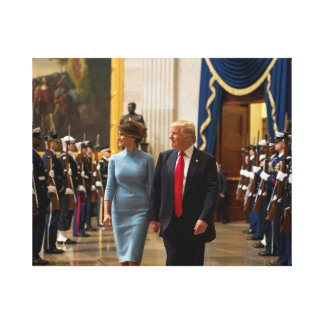 Donald and Melania Trump with Military Honor Guard Canvas Print