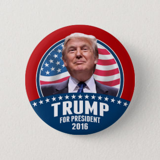 Donald Trump 4 President 2016 - Patriotic Design 6 Cm Round Badge