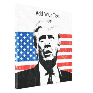 Donald Trump American Flag Custom Text Canvas Print