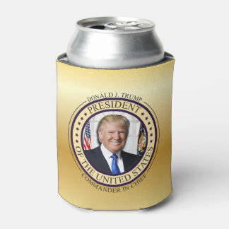 DONALD TRUMP COMMANDER IN CHIEF GOLD PRESIDENTIAL CAN COOLER