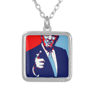 "Donald trump ""Fear"" parody poster 2017 Silver Plated Necklace"