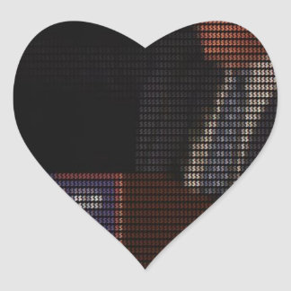 Donald Trump Image Made of Dollar Signs Heart Sticker