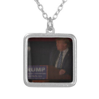Donald Trump Image Made of Dollar Signs Silver Plated Necklace