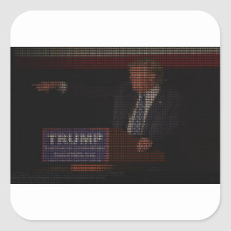 Donald Trump Image Made of Dollar Signs Square Sticker