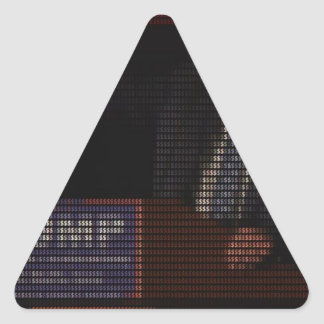 Donald Trump Image Made of Dollar Signs Triangle Sticker