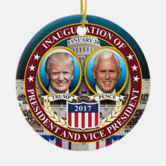 DONALD TRUMP MIKE PENCE PRESIDENTIAL INAUGURATION CERAMIC ORNAMENT