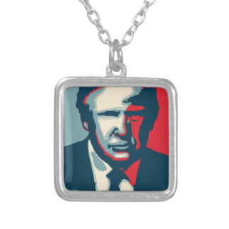 donald trump nope silver plated necklace