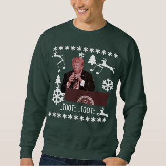 Donald Trump playing xmas bottle ugly sweater