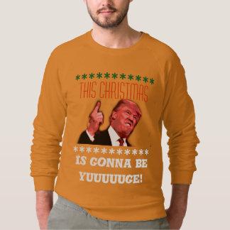 Donald Trump Ugly Christmas Sweatshirt, yuuge gold Sweatshirt