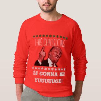 Donald Trump Ugly Christmas Sweatshirt, yuuge Sweatshirt