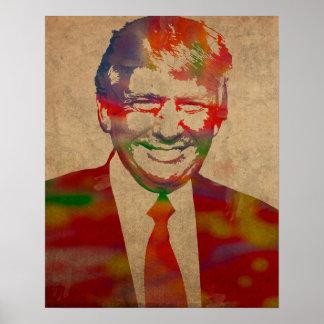 Donald Trump Watercolor Portrait Poster