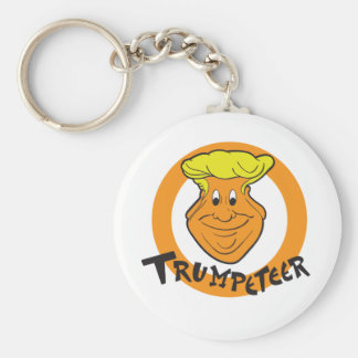 Donald Trumpeteer Caricature Basic Round Button Key Ring