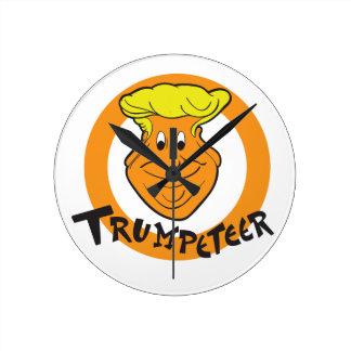 Donald Trumpeteer Caricature Round Clock