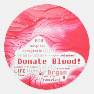 Donate blood concept design round sticker