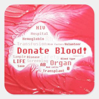Donate blood concept design square sticker