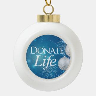 Donate Life Ceramic Ball Christmas Ornament