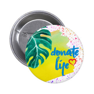 Donate Life Tropical Yellow Watercolor 6 Cm Round Badge